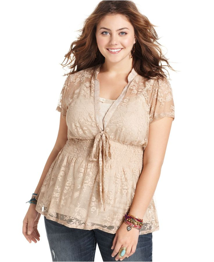 Eyeshadow Plus Size Top, Short-Sleeve Lace Tie Front - Plus Size Tops - Plus Sizes - Macy's