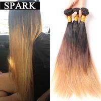 Ombre Brazilian Hair Straight 1B#4#30/ 27 Ombre Human Hair Weave 3 Bundles 7A Brazilian Virgin Hair Straight Spark Hair S103