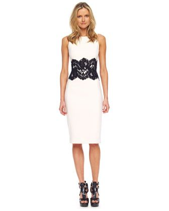 Lace-Detailed Boucle Sheath Dress  by Michael Kors at Neiman Marcus.