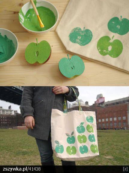 #bolsa #carimbo #maçã