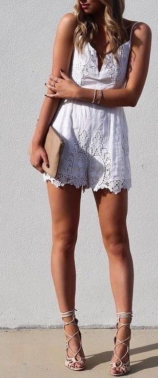 White lace romper.