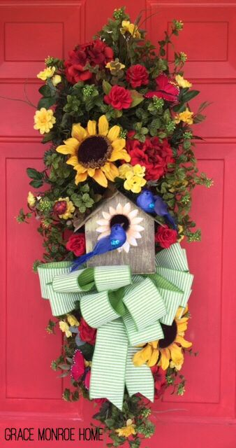 Summer Swag with Birdhouse - Pretty Wreath for Front Porch