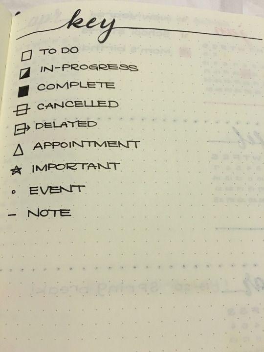 Handy key for organiser or brain dump notebook