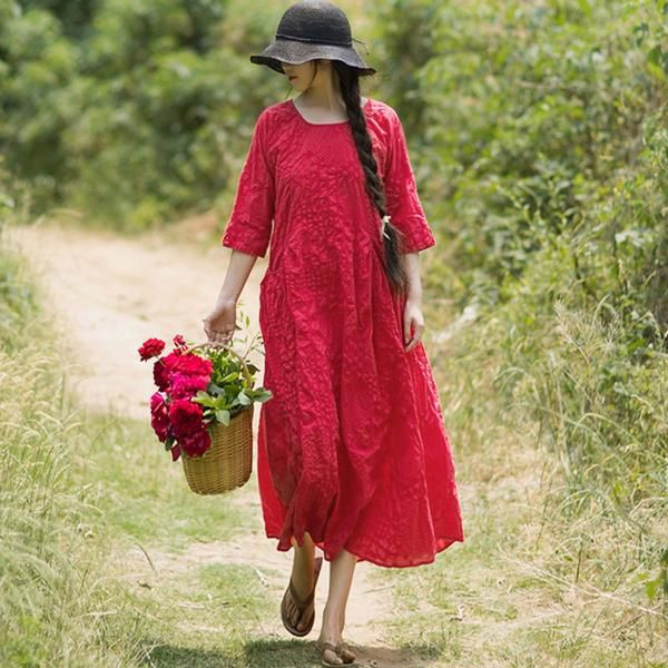 Folded Women Loose Casual Cotton Splicing Summer Red Dress