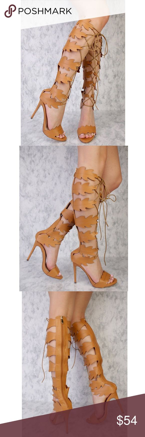 Leaf Cut Out Tan Gladiator BOOTS! 🍂👢😃 Brand new, in a box 📦. Great for upcoming spring! 👍🏼 🍂☀️ Absolutely one of a kind and a must have for my fierce fashionistas:) Heel measures approximately 4.75 inches. Shoe measures approximately 21.25 inches top to bottom. *Also available in Black- size 7 and White- size 9!! Athena Shoes Heeled Boots
