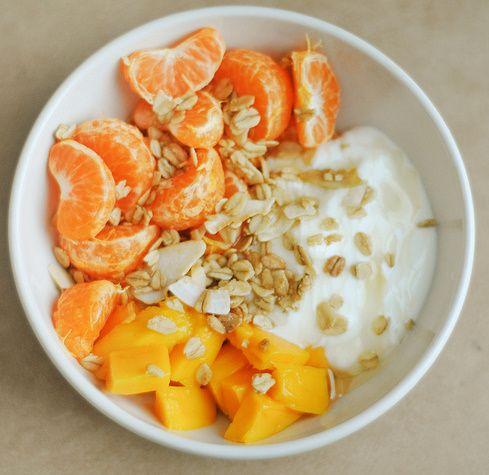 yogurt + mango + clementines + granola