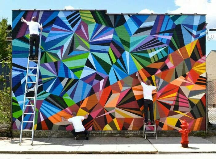 Wonderful colorful outdoor geometric delicatessen mural.  http://prolabdigital.com/products