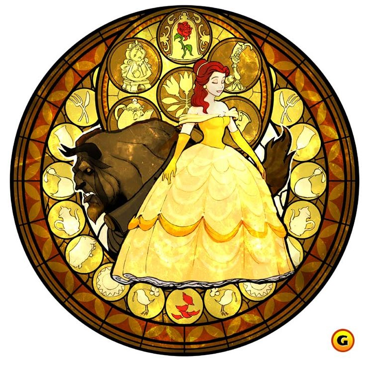 Walt Disney movie Beauty and the Beast, Belle stained glass style