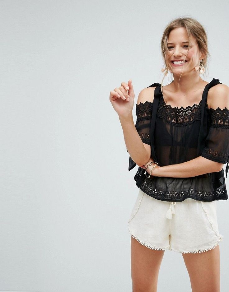 Buy it now. ASOS Lace Cold Shoulder Top with Tie - Black. Top by ASOS Collection, Semi-sheer woven fabric, Square neck, Cold-shoulder design, Crochet trim, Adjustable tie straps, Regular fit - true to size, Machine wash, 100% Polyester, Our model wears a UK 8/EU 36/US 4 and is 173cm/5'8 tall. Score a wardrobe win no matter the dress code with our ASOS Collection own-label collection. From polished prom to the after party, our London-based design team scour the globe to nail your new-season…