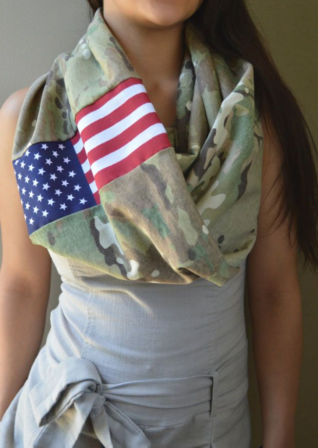 Multicam American Infinity Scarf, Scorpion American Flag Army
