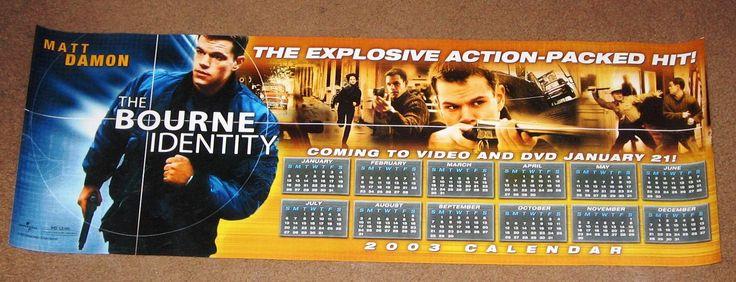 The Bourne Identity Movie Poster 2003 Calendar 10x30 Used Matt Damon