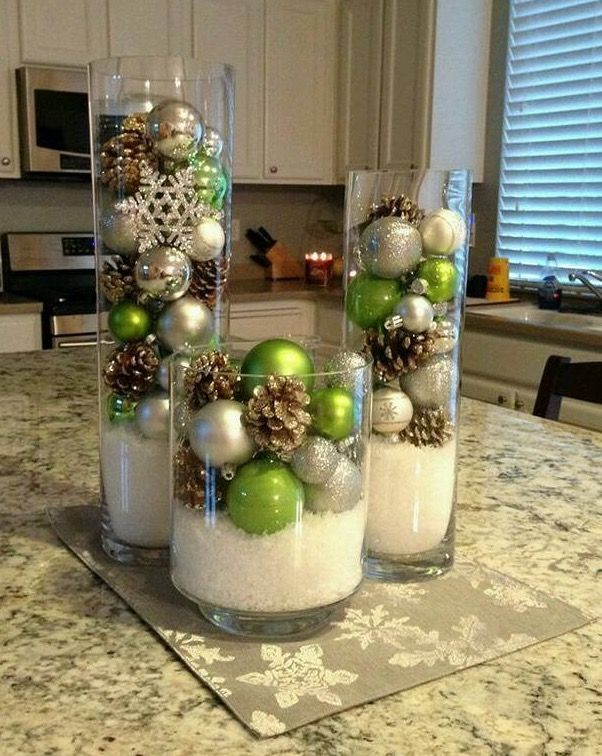 Beautiful ornaments in a wide vase to add Christmas decorations indoor