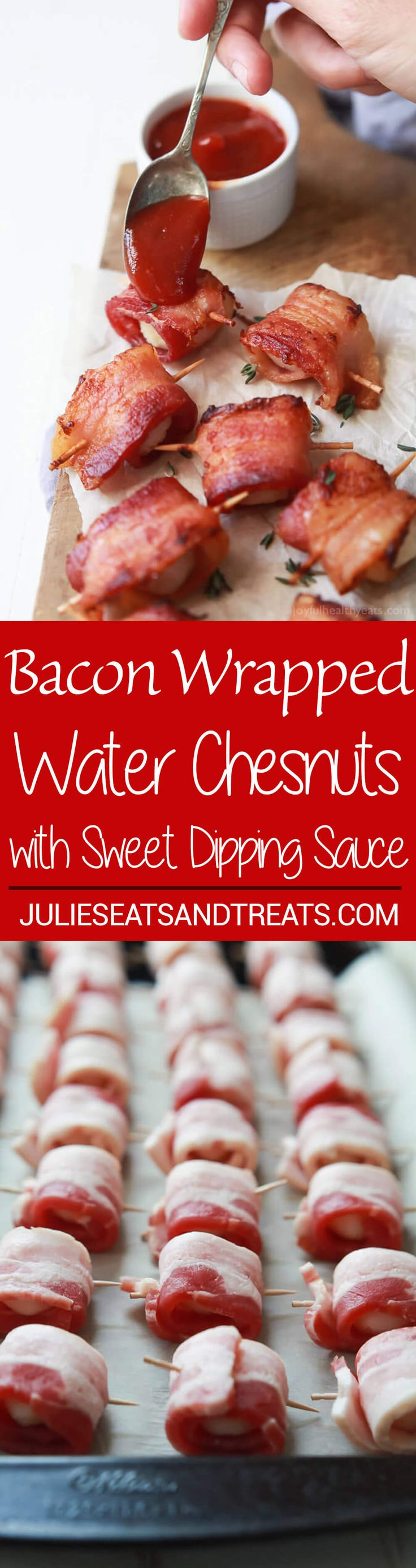 Bacon Wrapped Water Chestnuts Recipe served with a Sweet Dipping Sauce. This appetizer is sweet, salty, out of control delicious and so easy to make! Perfect for the holidays! ~ http://www.julieseatsandtreats.com