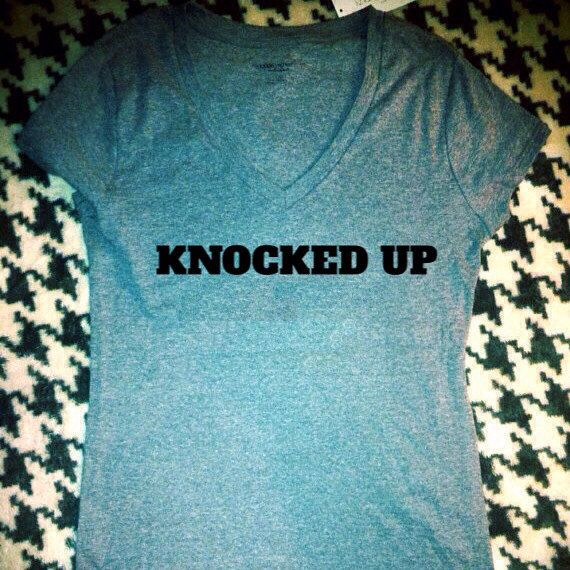 This listing is for a maternity t-shirt that shows the world that you are officially knocked up!    This picture shows a Liz Lange Maternity T-shirt,