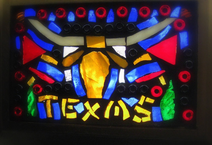 Texas longhorn stained glass on glass with grout for Anderson art glass