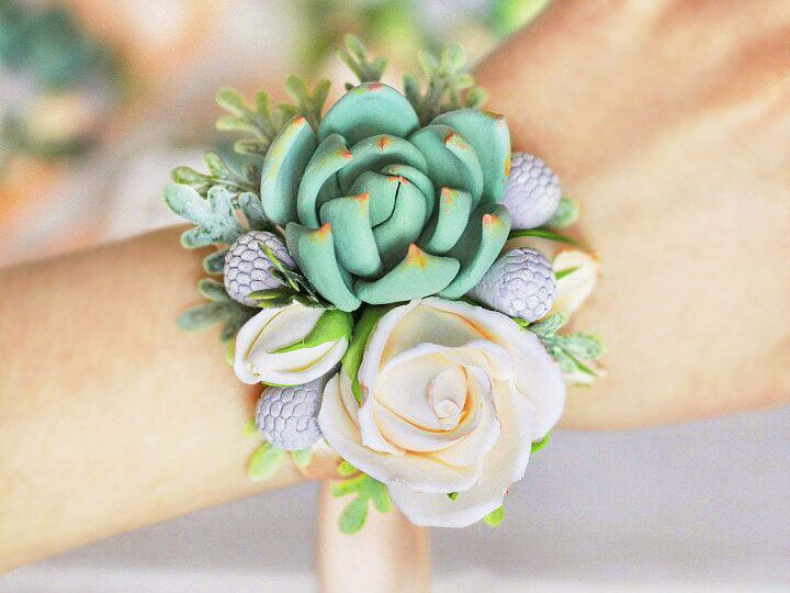 women flower jewelry Succulent corsage wedding corsage wrist bridal bouquet wedding accessories bridesmaids clay flowers, bracelets by FlowersKartasheva on Etsy https://www.etsy.com/listing/509465663/women-flower-jewelry-succulent-corsage