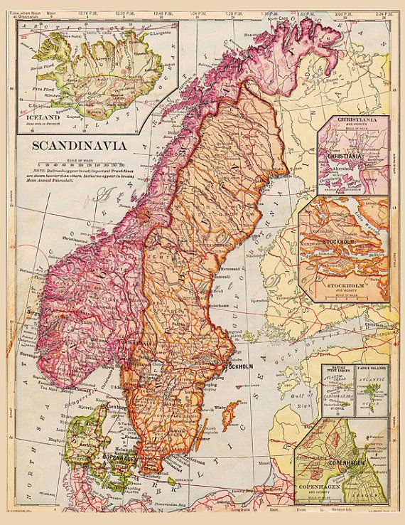 This is a high resolution scan of a beautiful old map of Finland, Sweden and Norway taken from a 1900 geography book. The colors are gorgeous. I