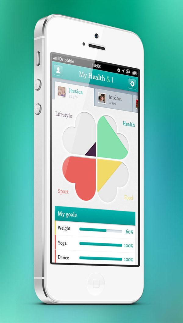 My Health iPhone app Mobile UI Design