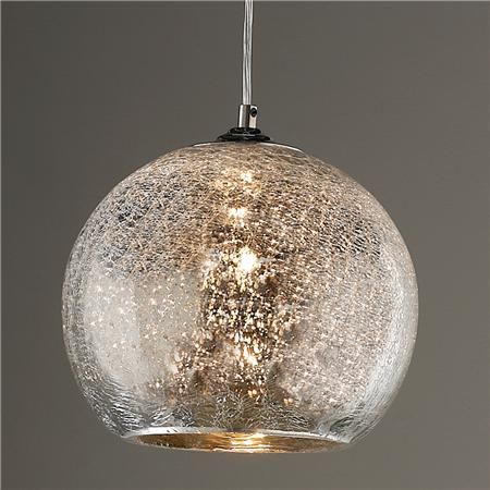 Crackled mercury bowl pendant light