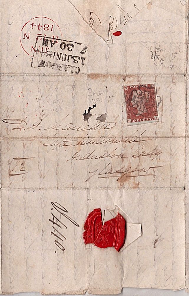 1844 qv edinburgh maltese cross on letter with 1d penny red imperf stamp d d n dod pinterest maltese cross