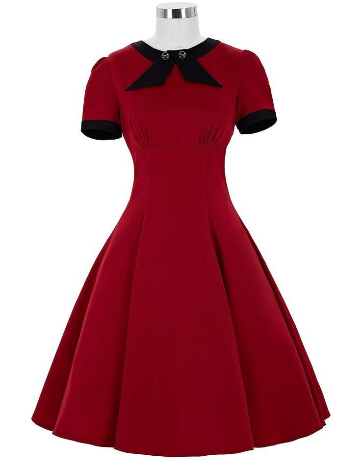 Rockabilly vestido elegante Robe Femme Belle Poque arco Retro Pin Up balanço de manga curta mulheres vestidos de verão 1950 s do Vintage