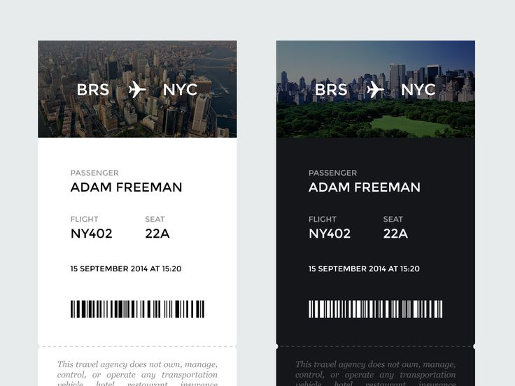 Mobile Airline Tickets Passbook App | Black and White UI Design