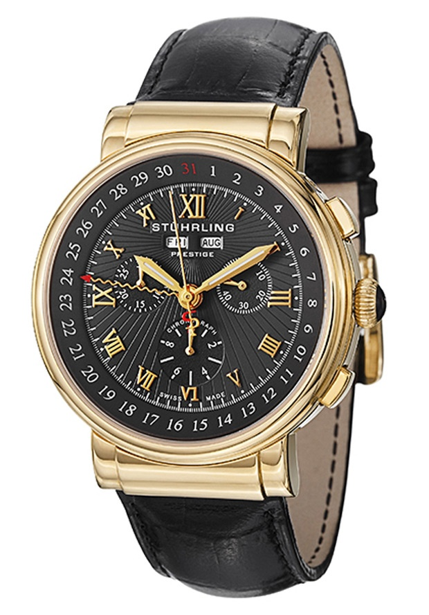 Stuhrling Original 380.333569, This Swiss made watch features a Chronograph seconds, 30 minute counter and a 1/10ths of a second counter, as well as the day, date and month. This multi-functional Stuhrling Prestige men's watch is classy and eye catching.
