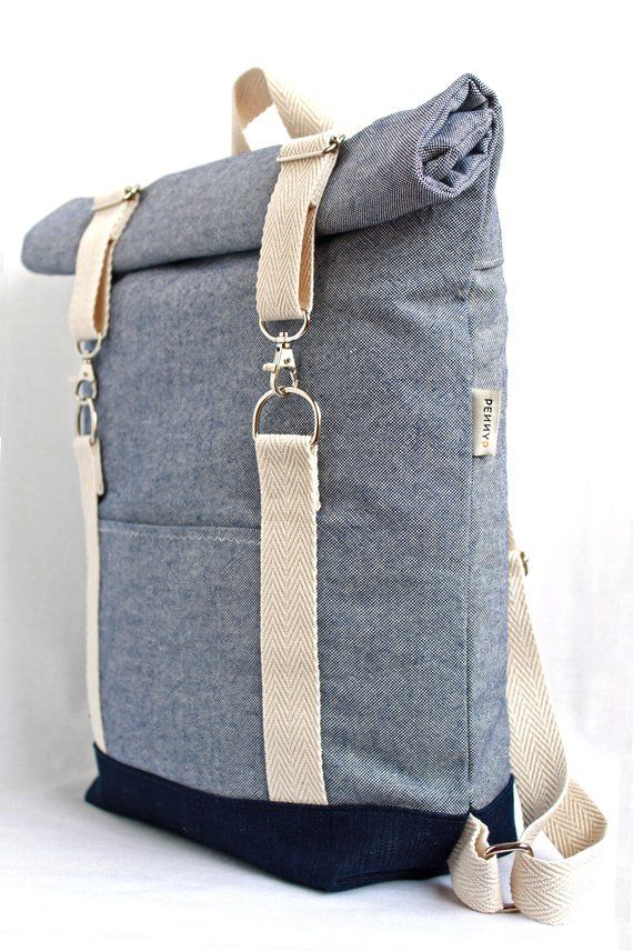 Personalized roll top backpack. Light blue cotton canvas rucksack. Laptop 15″ bag