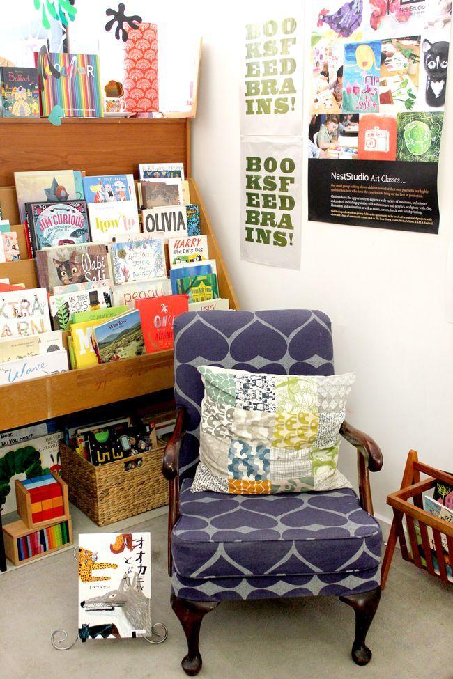 Book corner at Nest Studio