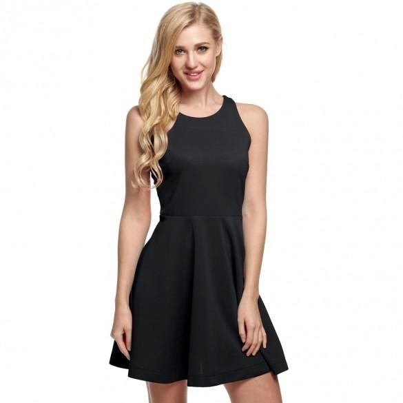Lady Women's Casual O-Neck Off-shoulder A-line Tank Mini Dress