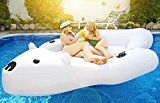 Giant Polar Bear Pool Float | Swim Lounger | Floating Island Raft with Cupholders by Captain Floaty – For Kids and Adults (Up to 4 People!)   OMG MASSIVE! – OVER 9 FEET LONG AND 7 FEET WIDE! : This NEW 2017 Polar Bear Float is the King of the Pool! Pile on your friends, and their...