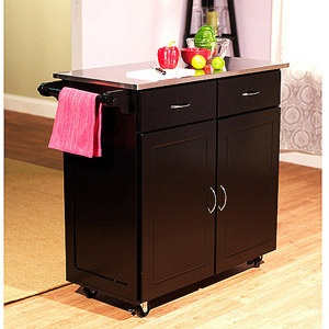 Large Kitchen Cart, Black with Stainless Steel Top