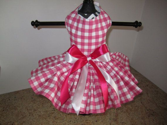 Dog Dress XS Pink and White Checkers Nina's by NinasCoutureCloset