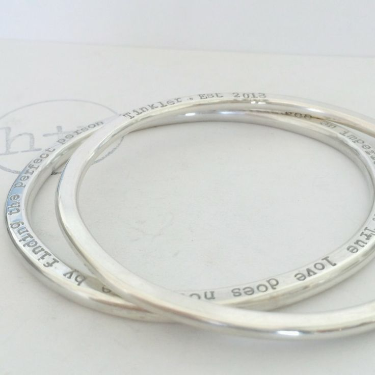 """Brand new gorgeousness coming soon to H&V  The first prototypes in our completely hand made, hand forged, and hand polished """"Organic Halo"""" Bangle collection. 4&5mm solid sterling silver, shaped by hand, and personalised with hand stamping."""