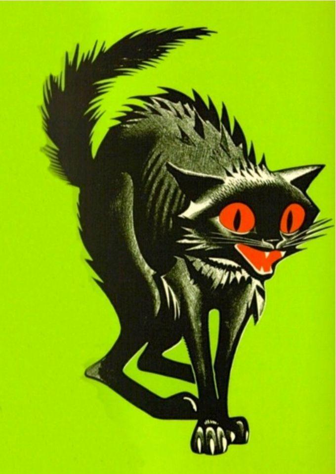 vintage Halloween clip art black cat retro
