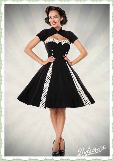 ad21ef2ca4c035 Belsira 50er Jahre Rockabilly Petticoat Kleid - Isabella - Schwarz Weiß