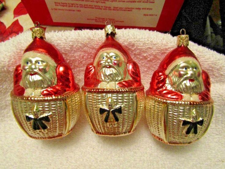 ANTIQUE CHRISTMAS ORNAMENTS FIGURAL GLASS SANTAS SANTA CLAUS LOT 3 VINTAGE