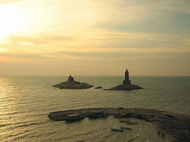 Places to Visit in India in October in Kanyakumari Named after the Temple of Virgin Sea Godess, Kanyakumari marks the land's end at the tip of India geographical 'V'. This tiny town in southernmost tip (almost) is where the Bay of Bengal, Arabian Sea and the Indian Ocean join each other.
