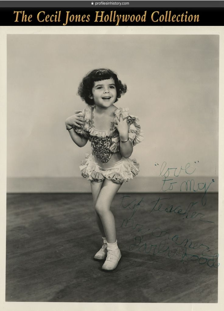 """Darla Hood - [Our Gang] Rare signed photograph. (ca. 1930s) Vintage original gelatin silver single-weight glossy ~8 x 10 in. photograph of Darla with juvenile signature inscribed and signed, """"'love' to my tap teacher Mr. Cramer Darla Hood""""."""