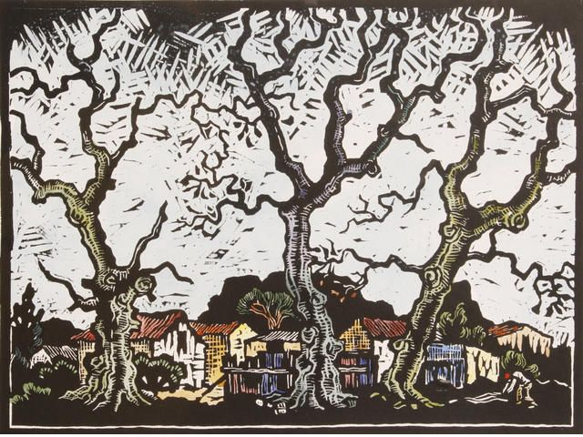 Gregoire Boonzaier (South African, 1909-2005) District Six 30 x 23cm (11 3/4 x 9in)(image). Together with two smaller linocuts with hand col...