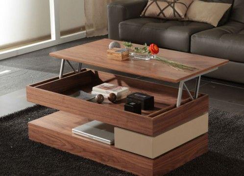 Mesa centro moderna tapa madera elevable