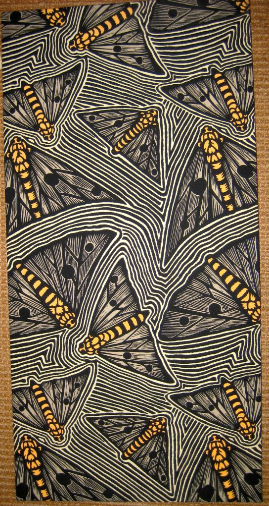 Bruce Goold, Bogong Moths, 4-color silkscreen fabric
