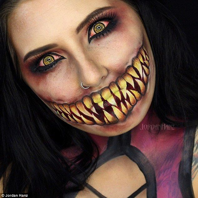 In this case, Jordan went for bloodshot eyes and a menacing grin, titled 'Mileena from Mor...