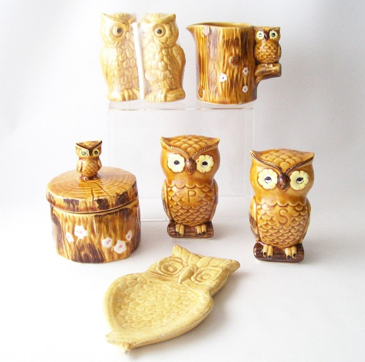 vintage owl kitchen housewares collection retro kitsch home decor salt
