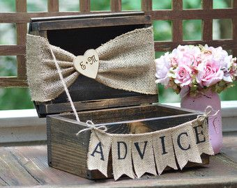 advice for the bride and groom, rustic wedding advice box, advice for the bride, shabby chic card box,  country wedding decor #affiliate