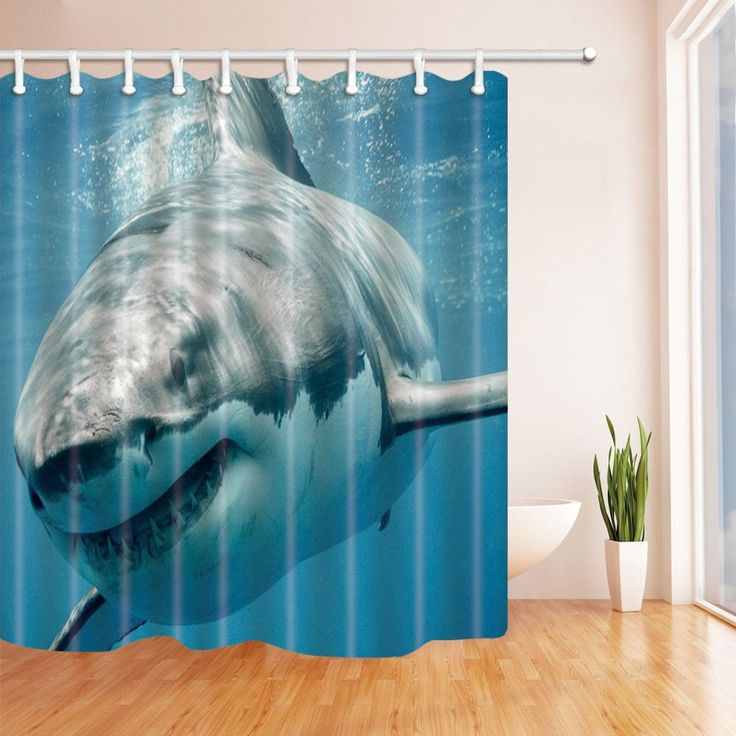NYMB Ocean Shower Curtain, Shark Jaws Tusk Keenness Predation In Underwatar, Mildew Resistant Polyester Fabric Waterproof, Bathroom Shower Curtain Set With Hooks, 69X70in
