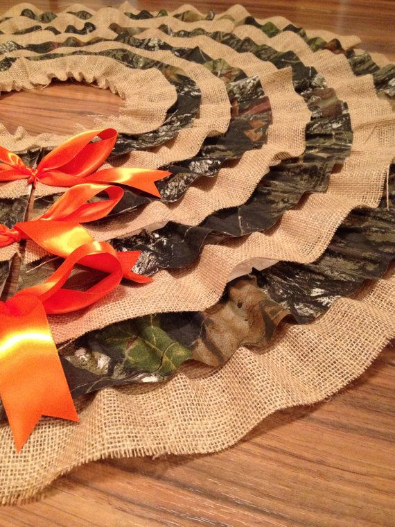 Camo and Burlap Ruffle Tree Skirt by LandonAveDesign on Etsy, $65.00