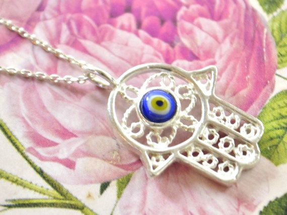 FLIGREE HAND NECKLACE kaballah necklace hand of by TURKISHNAZAR