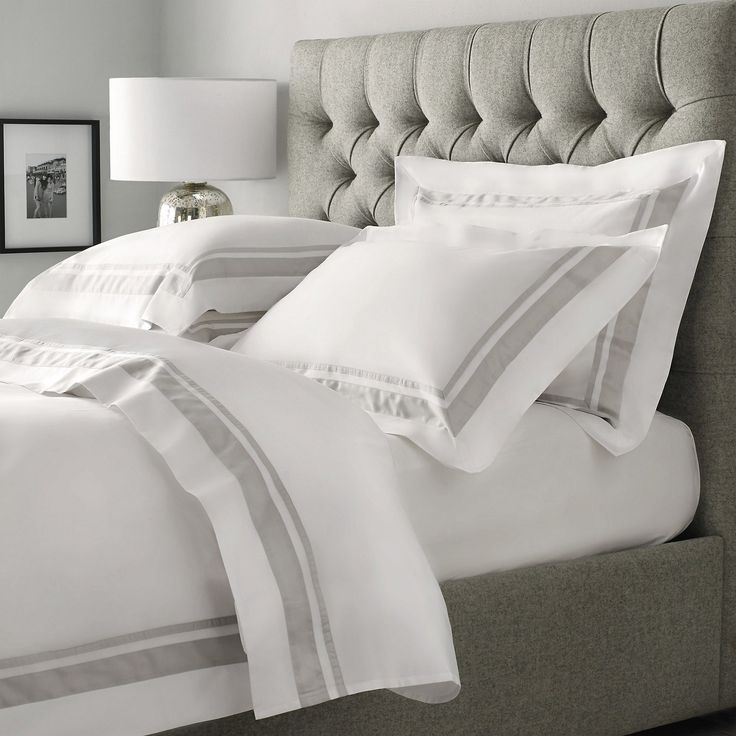 Brompton Bed Linen Collection in Silver | The White Company - note that they often have 20% discounts on, so fish around for these. 5ft bed, Kingsize duvet