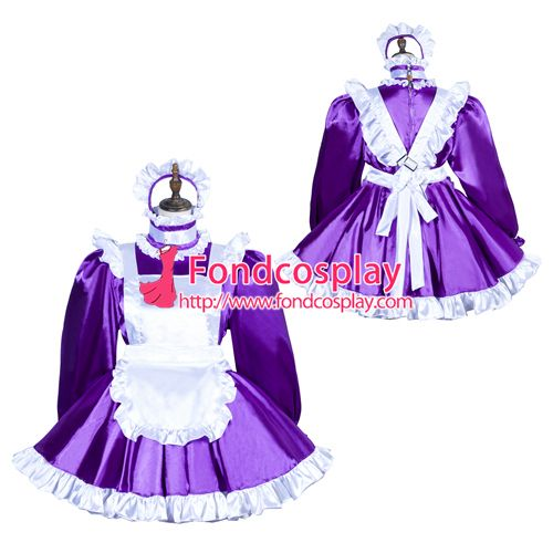 Sissy maid satin dress lockable Uniform cosplay costume Tailor-made[G3765]
